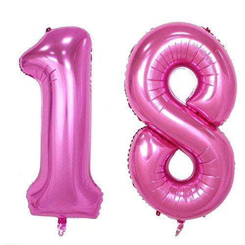 NUOLUX Number 18 Balloons,40-inch Birthday Number Foil Helium Balloons,(Pink) ()