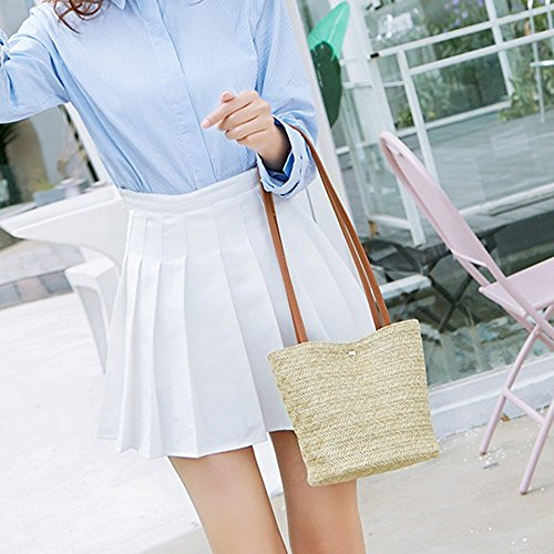 ed85be3d79e2 Clearance TOOPOOT Women Top Handle Straw Bag Shoulder Bag Messenger ...