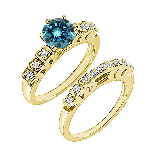 0.99 Carat Blue I2-I3 Diamond Engagement Wedding Anniversary Halo Bridal Ring Set 14K Yellow Gold ()