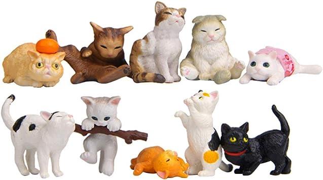 NUOBESTY figuritas de Gato realistas Mini Figuras de Gato Juguetes playset decoración de Topper de Torta para favores de Fiesta de niños 10 Piezas: Amazon.es: Juguetes y juegos