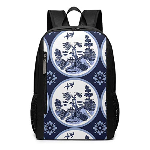 Blue Willow Round Tile Painting School Travel Casual Daypack Backpack for Business College Women Men Laptop Large Computer Bag Polyester