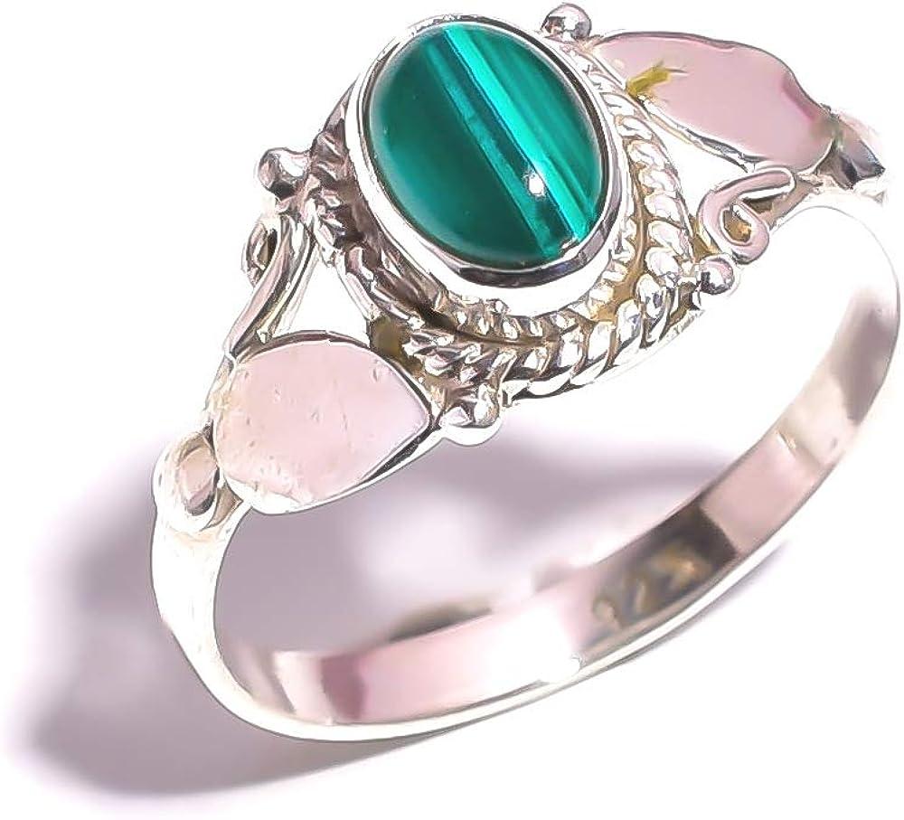 Mughal Gems & Jeweller - Anillo de Plata de Ley 925 con Piedras Preciosas Naturales de malaquita para Mujeres y niñas (Talla 7,75 U.S)