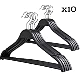 Clothes Hangers Holder, Bepack New Premium Plastic Hangers-360 Degree Rotating Hook Ultra-Thin Non-Slip Durable Suit Hangers-10/20/30 Pack-Black