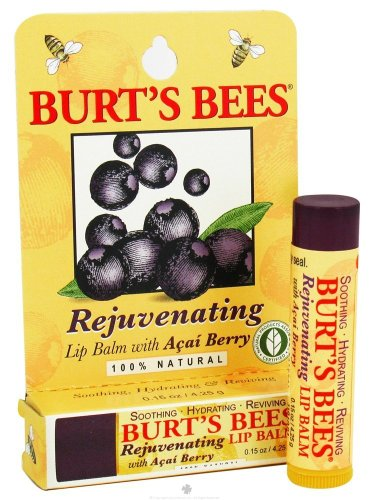 (Burt's Bees Lip Balm, Rejuvenating, with Acai Berry, 0.15 Oz / 4.25 G (Pack of 4))