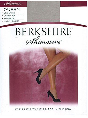 Berkshire Women's Plus-Size Queen Shimmers Ultra Sheer Control Top Pantyhose 4412 -Sandalfoot Toe,Silver,5X-6X - Plus Size Sheer Heels