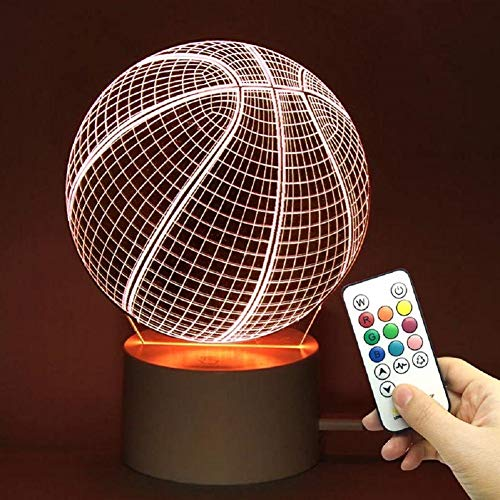 TRADE 10 Color Change Touch Remote Control Dimming Basketball Ball Sports 3D Visualization Acrylic LED Night Light Perfect Gift Give for Kid Teens Boyfriend Christmas Eve Halloween Birthday