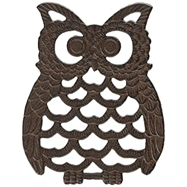Cast Iron Owl Trivet | Decorative Cast Iron Trivet For Kitchen Or Dining Table | Vintage Design | 7.75X6  | With Rubber Pegs/Feet - Recycled Metal by Comfify