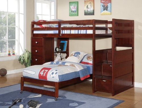 DONCO Twin over Twin Modular Stairway Loft Bed Chest