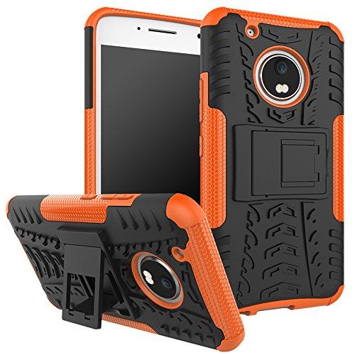 OFU®Para Lenovo Moto G5 Plus 5.2 Smartphone, Híbrido caja de la armadura para el teléfono Lenovo Moto G5 Plus 5.2 resistente a prueba de golpes contra la lucha de viaje accesorios esenciales del tel naranja
