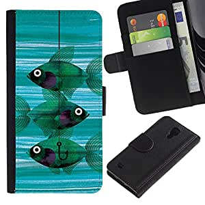 KingStore / Leather Etui en cuir / Samsung Galaxy S4 IV I9500 / Pesca Significado Hook trullo profundo