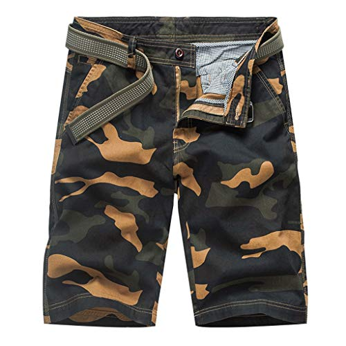 YKARITIANNA Men's Fashion Dungarees Casual Cotton Multi-Pocket Outdoors Work Trouser Cargo Short Pants Yellow ()