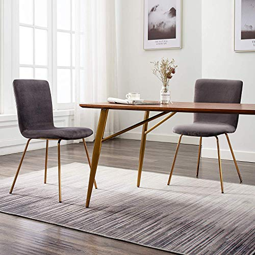 Art-Leon Mid-Century Modern Simple Retro Velvet Fabric Leisure Upholstered Dining Chairs Set of 2 with Golden Metal Legs Accent Side Chairs for Kitchen Living Room Bedroom Office (Grey) (Dining Metal Chairs Grey)