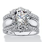 Platinum over Sterling Silver Round Cubic Zirconia Jacket Wedding Ring Set Size 8
