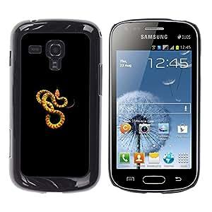 Serpiente Naranja Amarillo Venenoso Animal- Metal de aluminio y de plástico duro Caja del teléfono - Negro - Samsung Galaxy S Duos S7562