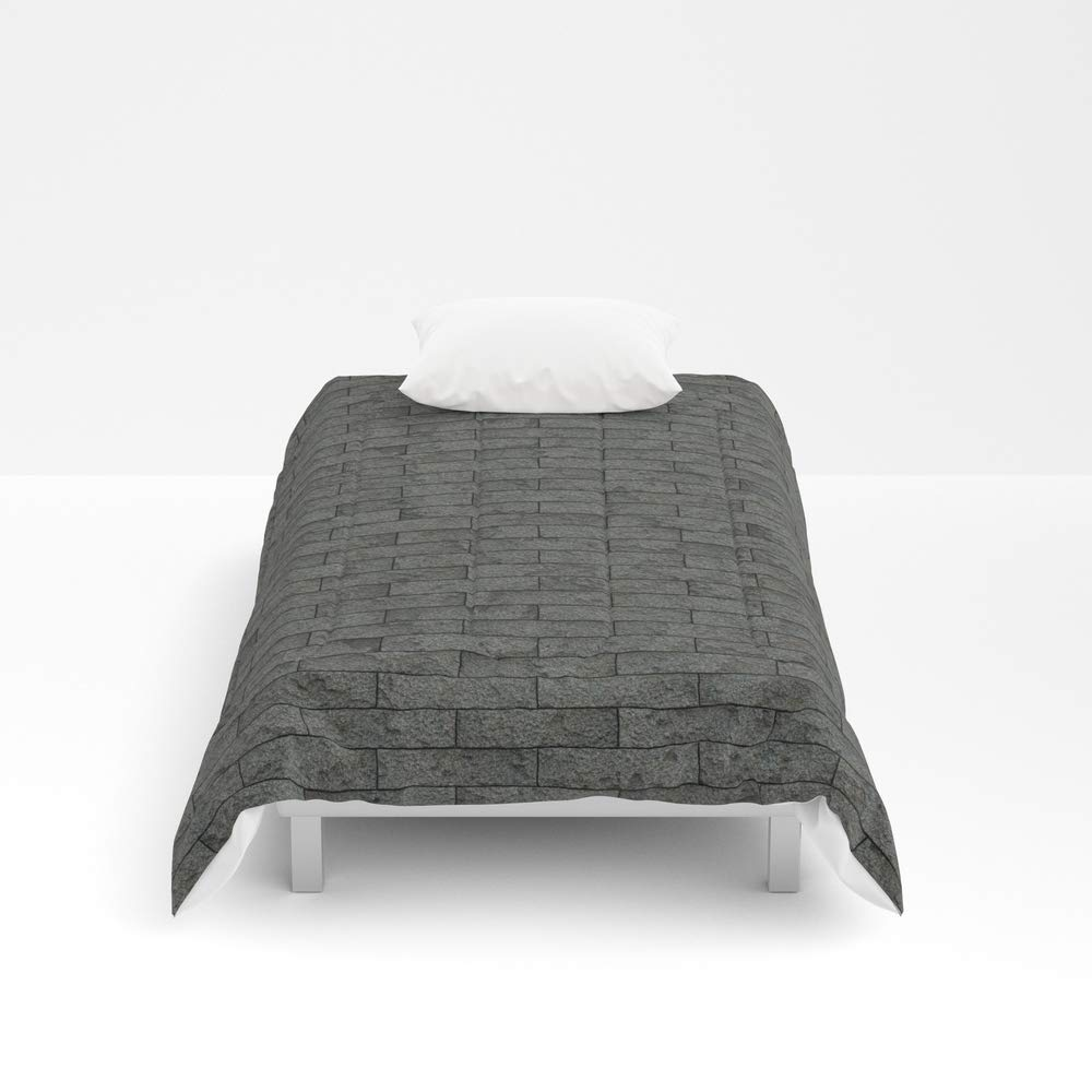 Society6 Comforter, Size Twin XL: 68'' x 92'', Grey Stone Bricks Wall Texture by Textures