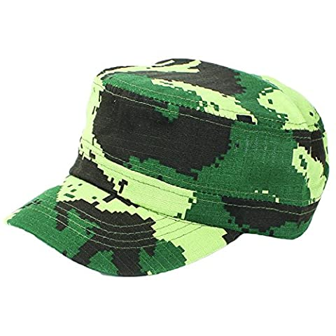 Kids Military Cadet Cap - Digital Camo Hat Camouflage in Various Colors by bogo Brands(Woodland Green)