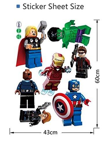 Lego Avengers 3 Piece Wall Decal Set Decor Iron Man Spider-Man Hulk Thor Superheroes Bedroom Wallpaper (Avengers 7 Figures Decal)