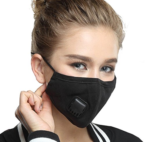 Anti Pollution Mask,With Valve Washable Dust Respirator Cotton Mouth Masks with Replaceable 2 Layer Filter for Men Women,Black (Black-Women)
