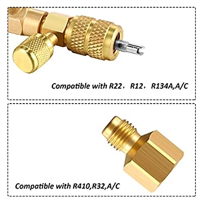 Mudder R22 R134A R12 A/C Valve Core Remover with Dual Size SAE 1/4 & 5/16 Port, R410 R32 Brass Adapter, 20 Pieces Valve Cores and 10 Pieces Brass Nut HVAC Valve Core Removal Installer Tool Kit: Automotive