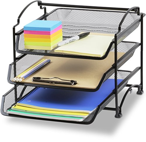 (SimpleHouseware 3 Tier STACKABLE Desktop Document Letter Tray Organizer, Black)