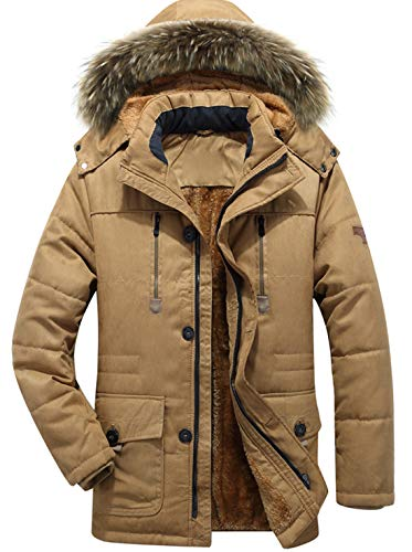 chouyatou Men's Winter Detachable Hooded Frost-Fighter Sherpa Lined Windbreaker Puffer Coat (Large, 17Khaki) (Jacket Front Fur Button)