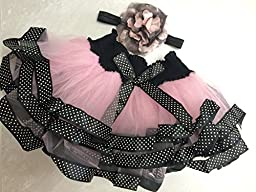 Pink with Black Tutu Headband Set for Baby for Baby Girls 12 and Up (pink/black)