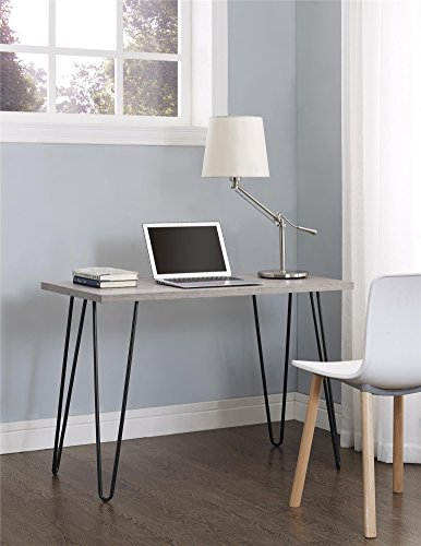 Ameriwood Home Owen Retro Desk with Metal Legs (GrayOak/ Gray) (Small Office Desk)