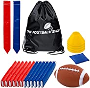 Flag Football Set for 12 Players - Includes Durable Flag Belts and Flags, Cones, Bean Bag, Carrying Backpack,