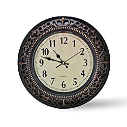 Foxtop 12 Inch Silent Wall Clock European-style Vintage Retro Antique Royal Style Resin Wall Clock, Creative Home Living Room Boutique Antique Hotel Mute Wall Clock (Bronze)