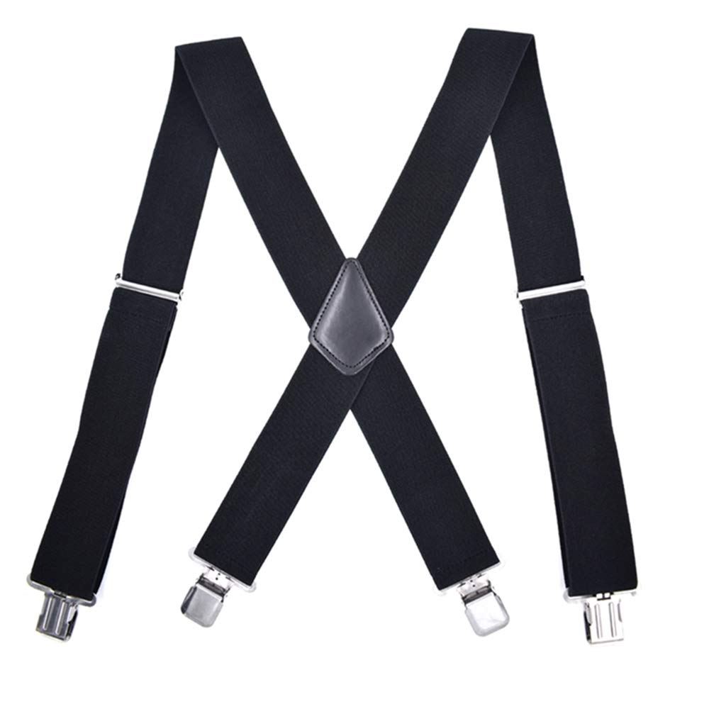 Adjustable X Back Elastic Strap with 4 Solid Straight Clips Suspenders for Men 2 inch Wide