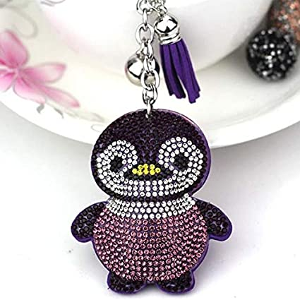 Amazon.com: Rarido Penguin Tassel Crystal Leather Key Chain ...