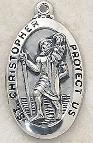 Creed Silver Tone St. Christopher Protect Us Medal, Rhodium-Plated Chain, 24-Inch