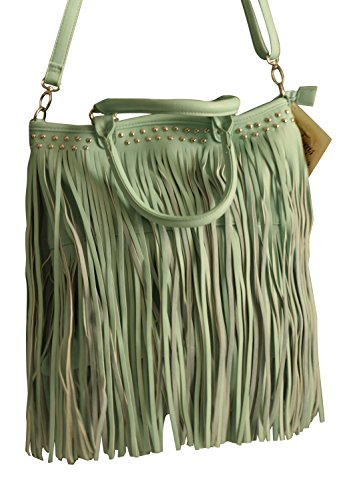 Womens Large Bucket Purse with 2 Layers of Fringe and Lined Interior, Studded Accents, Handles and Removable Adjustable Shoulder Strap (Mint)