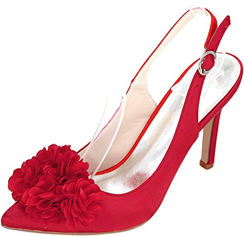 Sandals Job Slingback Red Pointed 0608 Bride Nightclub 20h Ol Work 37 Eu Comfort Pu Toe Ladies Heeled Wedding F06q0H