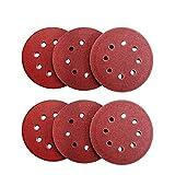 Denveo Dry Sanding Disc 60/80/120/180/240/320 Grit 5 Inch and Sandpaper Assortment, Hook and Loop System Red Paint and Steel Sanding for Random Orbital Sander, Pack of 60 (8 Holes)