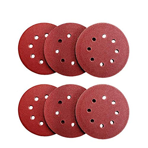 Denveo Dry Sanding Disc 60/80/120/180/240/320 Grit 5 Inch and Sandpaper Assortment, Hook and Loop System Red Paint and Steel Sanding for Random Orbital Sander, Pack of 60 (8 Holes) by Denveo