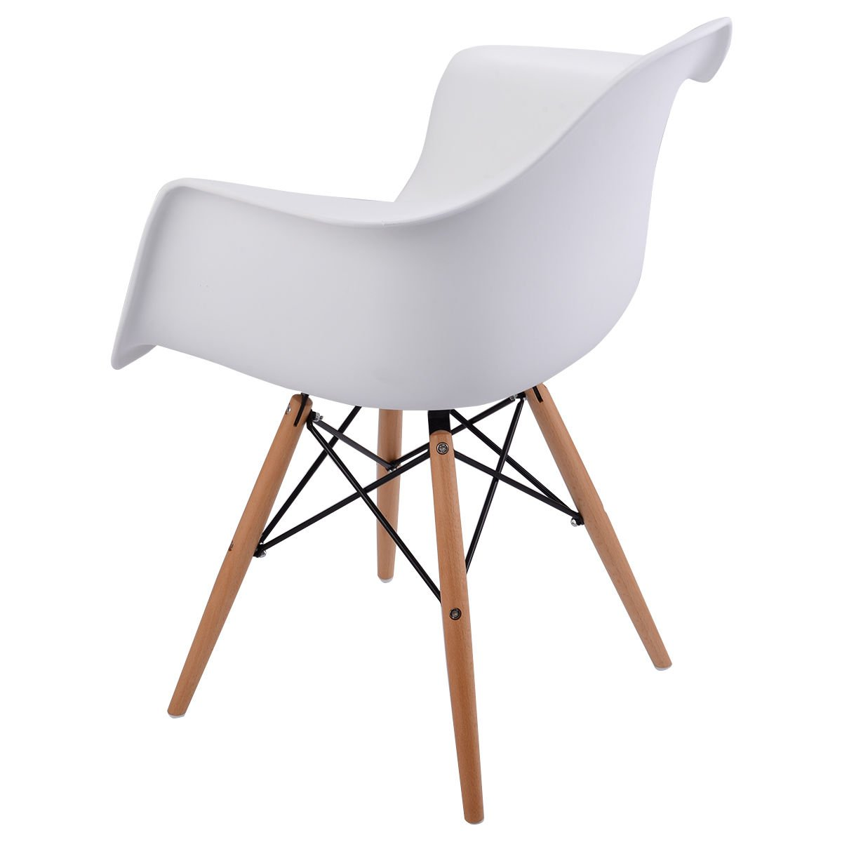 Giantex 1 PC Mid Century Modern Molded Plastic Style Dining Arm Chair Wood Legs by Giantex (Image #3)