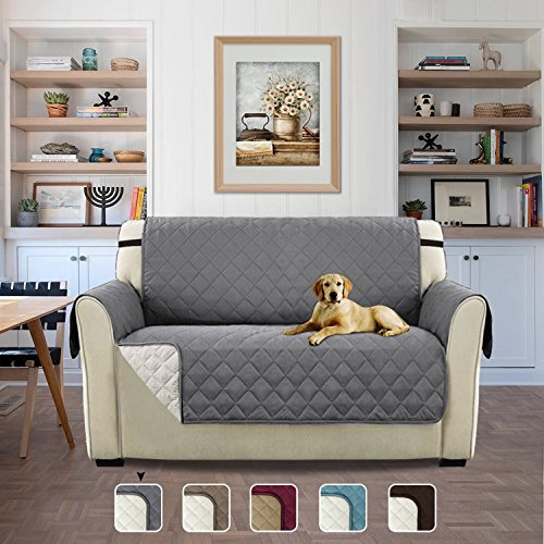 Turquoize Rich Microfiber Elegante Luxurious Reversible Sofa Furniture Protector with Straps for Pets (Love Seat - Gray/Beige, 75