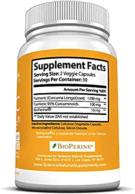 Turmeric Capsules with Curcumin and BioPerine Black Pepper Extract | 1300mg | 30 Day Supply | 2000% Faster Max Absorption Formula w/ 95% Curcuminoids by Science Natural Supplements