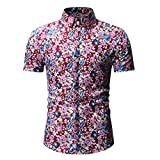 Retro T Shirts for Men 90S,Men's Printed Casual Button Down Short Sleeve Shirt Top Blouse,Men's Big & Tall Shirts,Red,2XL