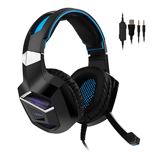 COOAU CU002 Stereo Gaming Headset for PS4, PC, Xbox One, Noise Cancelling Over-Ear Headphones with Mic, LED Lights, Volume Control, Bass Surround for Laptop, Mac, iPad, Computer, Smartphones