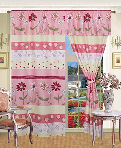 Golden Linens 5 Pieces Printed Window Curtain Panel with Attached Valance and Tie Back, Teens Girls Printed Window Panel Floral Multi Color Light Pink, Yellow, Hot Pink & Sage # Curtain 16-02
