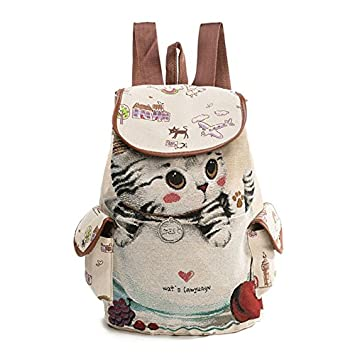 REFURBISHHOUSE Mochila de Lona para Mujer Bolsillos Bolsa para la Escuela de Patron de Gato de Dibujos Animados Bolsa Vintage Informal Mochila de Cordon de ...