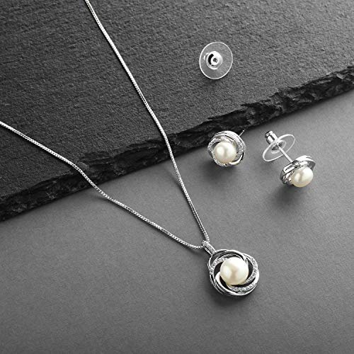 0b6555d52 Mariell CZ and Freshwater Pearl Button Wedding Necklace and Earrings  Jewelry Set for Bridesmaids & Brides