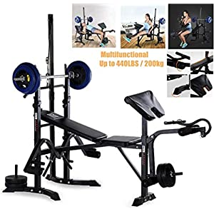 Olympic Weight Bench Adjustable Barbell Squat Rack Weight-lifting Bed Flat Press Foldable Stool Full Body Workout Multi-Purpose Strength Training Leg Developer Home Gym Fitness Equipment (440lbs)