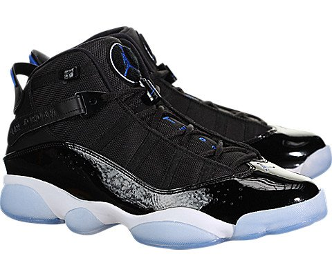 NIKE Men's Jordan 6 Rings Basketball Shoes Black/Hyper Royal-White 9
