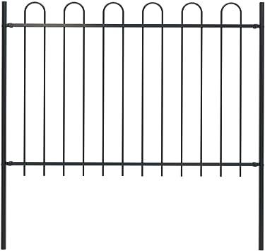 vidaXL Valla de jardín con diseño de planchado, postes, valla de metal, valla de joyas, valla de acero, valla de vallas, puerta, acero, 1,7 x 1,2 m, color negro: Amazon.es: Bricolaje y