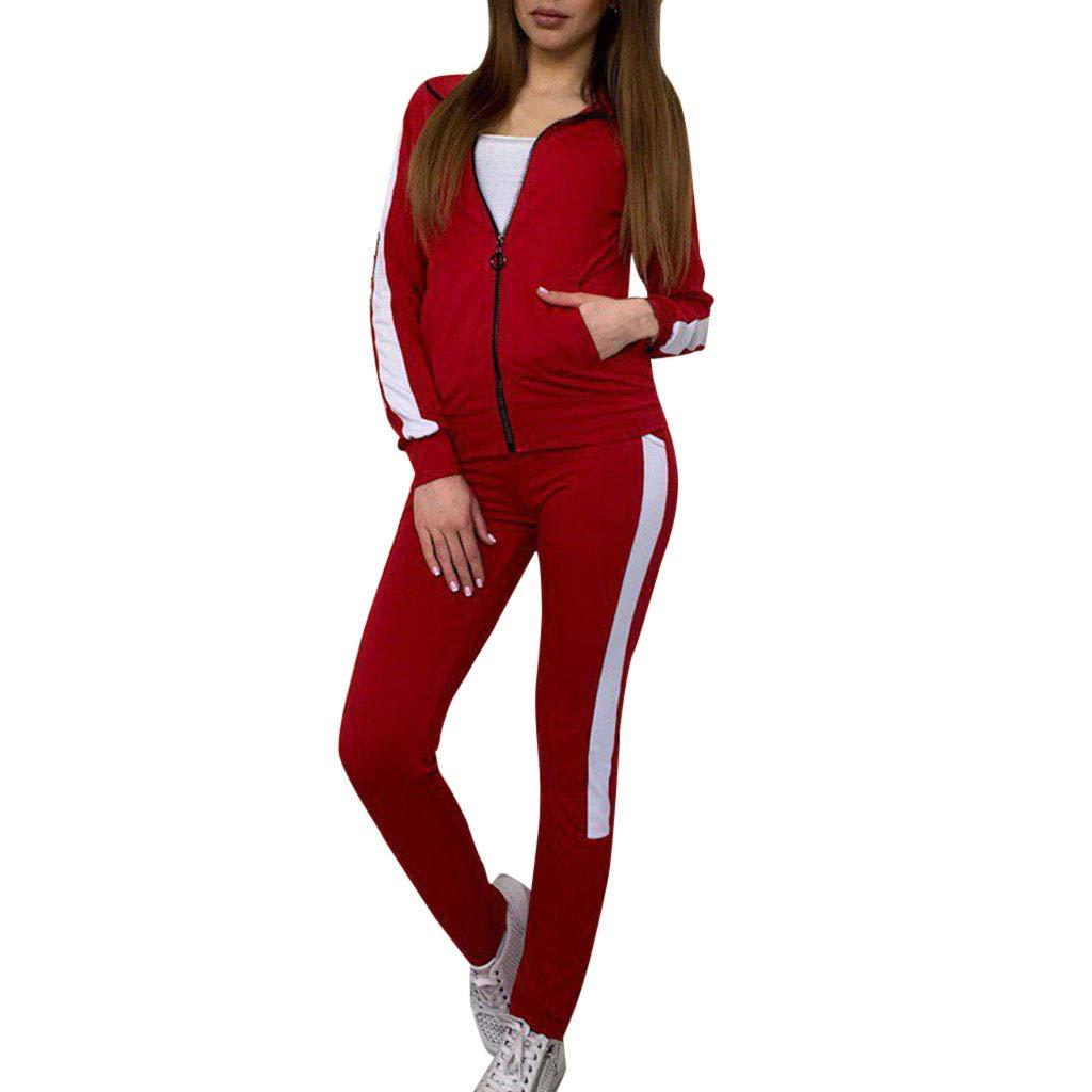 dfd1749774b Women Tracksuit Sets 2 Pieces Outfits Stripe Long Sleeve Zipper T-Shirt Tops  and Long Pants Set Sweatshirt (Red, M) - - Amazon.com