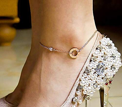 Park one Day The Same Style Today Shelves Seven Small Daisy Foot Chain Anklet Ankle Bracelet Jewelry Women Girls Steel Rose Gold Color Fashion