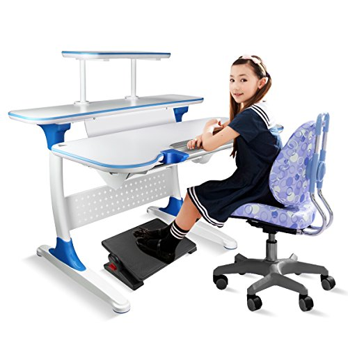 Uktunu Kids Desk Height Adjustable Writing Children's Student Desks Set for Study Computer School Art Home Workstation Blue Review